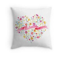 Love finds a way painted flower bouquet Throw Pillow