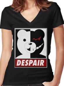 Danganronpa: monokuma despair Women's Fitted V-Neck T-Shirt