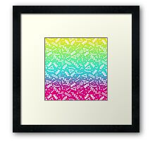 Retro 80's 90's Neon Rainbow Sketched Doodle Framed Print
