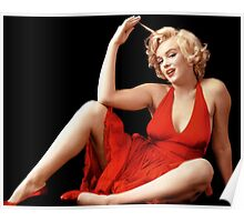 """MARILYN MONROE"" In A Red Dress Print Poster"