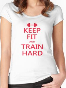KEEP FIT and TRAIN HARD (RED) Women's Fitted Scoop T-Shirt