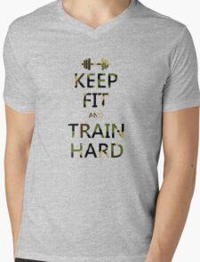 KEEP FIT and TRAIN HARD (camo) Mens V-Neck T-Shirt