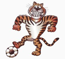 Tiger Stepping on a Soccer Ball and Preparing a Free Kick Baby Tee