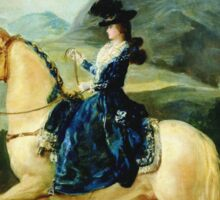 Francisco De Goya  - Portrait Of Maria Teresa De Vallabriga On Horseback. Animal portrait: cute cat, horse, race, man hobby, running, wild life, animal, racing mustang, hunt, cowboy, sport Sticker