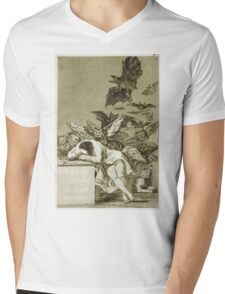 Francisco De Goya  - The Sleep Of Reason Produces Monsters. Bird painting: cute fowl, fly, wings, lucky, pets, wild life, animal, birds, little small, bird, nature Mens V-Neck T-Shirt