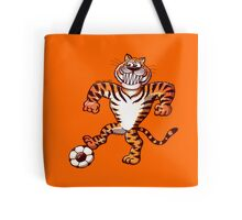 Tiger Stepping on a Soccer Ball and Preparing a Free Kick Tote Bag