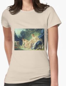 Francois Boucher - Diana Getting Out Of Her Bath. Woman portrait: sensual woman, girly art, female style, pretty women, femine, beautiful dress, cute, creativity, love, sexy lady, erotic pose Womens Fitted T-Shirt