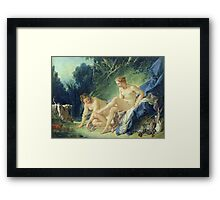Francois Boucher - Diana Getting Out Of Her Bath. Woman portrait: sensual woman, girly art, female style, pretty women, femine, beautiful dress, cute, creativity, love, sexy lady, erotic pose Framed Print