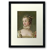Francois Boucher - Madame De Pompadour (1721-64). Woman portrait: sensual woman, girly art, female style, pretty women, femine, beautiful dress, cute, creativity, love, sexy lady, erotic pose Framed Print