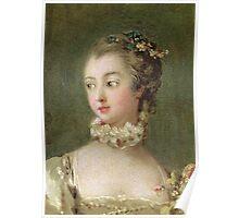 Francois Boucher - Madame De Pompadour (1721-64). Woman portrait: sensual woman, girly art, female style, pretty women, femine, beautiful dress, cute, creativity, love, sexy lady, erotic pose Poster
