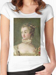 Francois Boucher - Madame De Pompadour (1721-64). Woman portrait: sensual woman, girly art, female style, pretty women, femine, beautiful dress, cute, creativity, love, sexy lady, erotic pose Women's Fitted Scoop T-Shirt