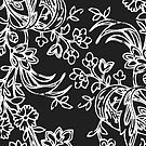 Black and White Floral Pattern Pillow by red addiction