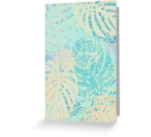 Hand drawn watercolor pattern with  monstera leaves Greeting Card