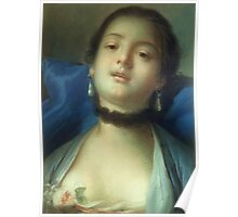 Francois Boucher - Portrait Of A Woman. Woman portrait: sensual woman, girly art, female style, pretty women, femine, beautiful dress, cute, creativity, love, sexy lady, erotic pose Poster