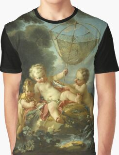 Francois Boucher - Putti As Fisherman. Child portrait: cute baby, kid, children, pretty angel, child, kids, lovely family, boys and girls, boy and girl, mom mum mammy mam, childhood Graphic T-Shirt