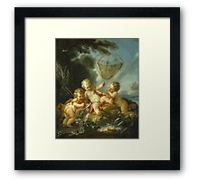Francois Boucher - Putti As Fisherman. Child portrait: cute baby, kid, children, pretty angel, child, kids, lovely family, boys and girls, boy and girl, mom mum mammy mam, childhood Framed Print