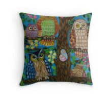 A tree full of owls. Throw Pillow