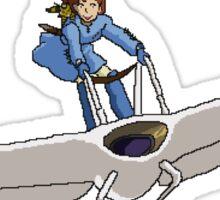 "Nausicaa on her ""Mehve"" glider Pixel Art Sticker"
