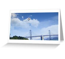 Seagull over the Willie Brown Bridge Greeting Card