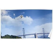 Seagull over the Willie Brown Bridge Poster