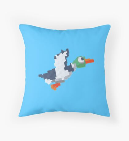 8-Bit Duck - Blue Pillow Throw Pillow