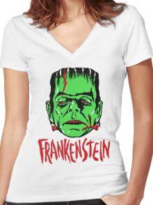 FRANKENSTEIN - Vintage 1960's Style! Women's Fitted V-Neck T-Shirt