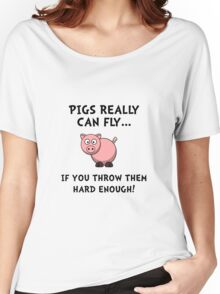 Pigs Fly Throw Women's Relaxed Fit T-Shirt