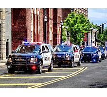 Line of Police Cars Photographic Print
