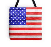 American Flag on Wood Tote Bag