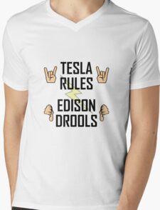 Tesla Rules Edison Drools Mens V-Neck T-Shirt
