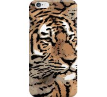 Thick outline artistic tiger print iPhone Case/Skin