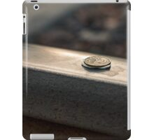 Coin on a chewing gum sticked to the railroad iPad Case/Skin