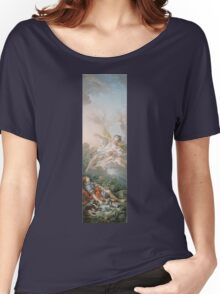 Francois Boucher - Aurora And Cephalus 1769. Lovers portrait: sensual woman, woman and man, kiss, kissing lovers, love relations, lovely couple, family, valentine's day, sexy, romance, female and male Women's Relaxed Fit T-Shirt