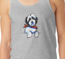 Black Parti Havanese in Lil Bone Scarf Tank Top