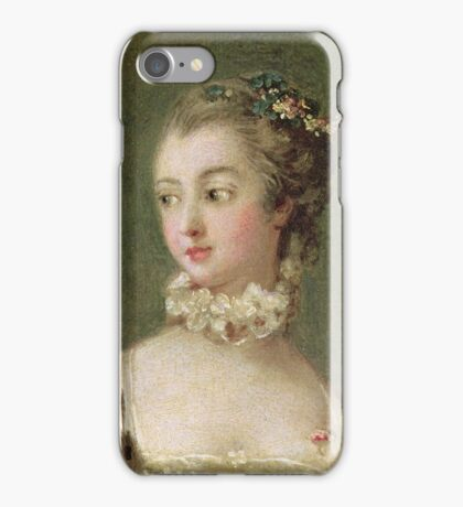 Francois Boucher - Madame De Pompadour (1721-64). Woman portrait: sensual woman, girly art, female style, pretty women, femine, beautiful dress, cute, creativity, love, sexy lady, erotic pose iPhone Case/Skin