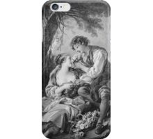 Francois Boucher - Pastoral Scene. Lovers portrait: sensual woman, woman and man, kiss, kissing lovers, love relations, lovely couple, family, valentine's day, sexy, romance, female and male iPhone Case/Skin