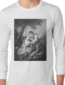 Francois Boucher - Pastoral Scene. Lovers portrait: sensual woman, woman and man, kiss, kissing lovers, love relations, lovely couple, family, valentine's day, sexy, romance, female and male Long Sleeve T-Shirt