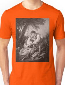 Francois Boucher - Pastoral Scene. Lovers portrait: sensual woman, woman and man, kiss, kissing lovers, love relations, lovely couple, family, valentine's day, sexy, romance, female and male Unisex T-Shirt