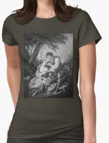 Francois Boucher - Pastoral Scene. Lovers portrait: sensual woman, woman and man, kiss, kissing lovers, love relations, lovely couple, family, valentine's day, sexy, romance, female and male Womens Fitted T-Shirt