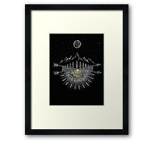Moon and Stars Night Sky Mountain Range Arrow Mandala Framed Print