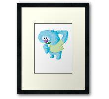 Furry Blue Romantic Monster Framed Print