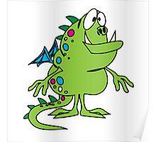 Green cute cartoon dragon Poster