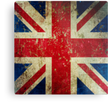 Grunge Union Jack - Scratched Metal Effect Metal Print