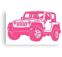 Pink Jeep wrangler drawing Canvas Print