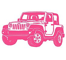 Pink Jeep wrangler drawing Photographic Print