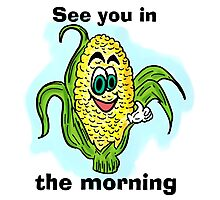 Funny bathroom humor corn drawing Photographic Print