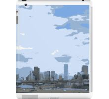 Artistic scenic Denver Colorado skyline blue iPad Case/Skin