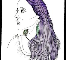 Girl with Feather Earrings by E-Chamberlin
