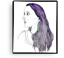 Girl with Feather Earrings Canvas Print