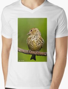 Pine Siskin With Yellow Coloration Mens V-Neck T-Shirt
